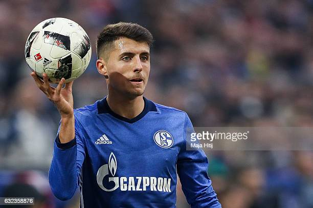 Alessandro Schoepf holds the ball during the Bundesliga match between FC Schalke 04 and FC Ingolstadt 04 at VeltinsArena on January 21 2017 in...