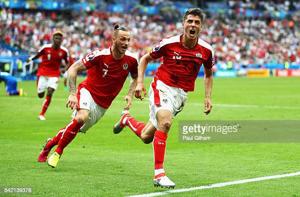 Alessandro Schoepf of Austria celebrates scoring his team's first goal during the UEFA EURO 2016 Group F match between Iceland and Austria at Stade...