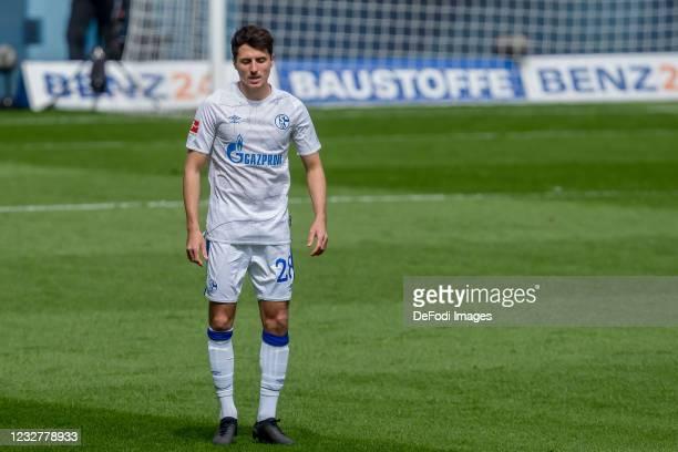 Alessandro Schoepf of FC Schalke 04 looks dejected during the Bundesliga match between TSG Hoffenheim and FC Schalke 04 at PreZero-Arena on May 8,...