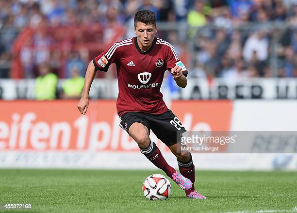 Alessandro Schoepf of Nuernberg controls the ball during the Second Bundesliga match between Karlsruher SC and 1 FC Nuernberg at Wildpark Stadium on...