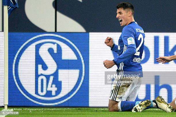 Alessandro Schoepf of Schalke celebrates after scoring his team's third goal during the Bundesliga match between FC Schalke 04 and Werder Bremen at...