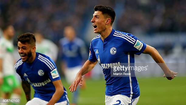 Alessandro Schoepf of Schalke celebrates after scoring the 3rd goal during the Bundesliga match between FC Schalke 04 and VfL Wolfsburg at...