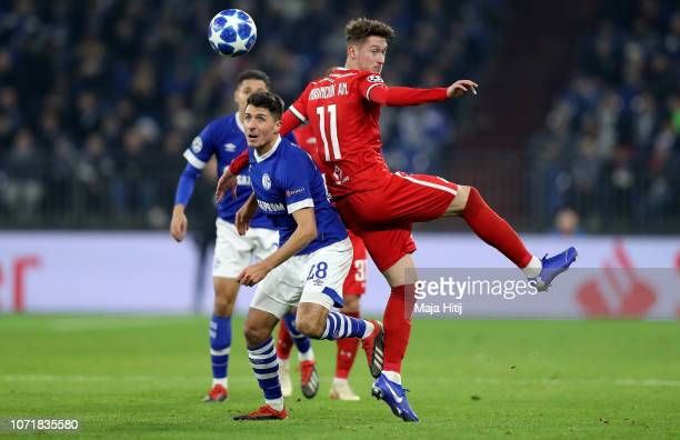 Alessandro Schoepf of Schalke challenges Anton Miranchuk of Moscow during the UEFA Champions League Group D match between FC Schalke 04 and FC...