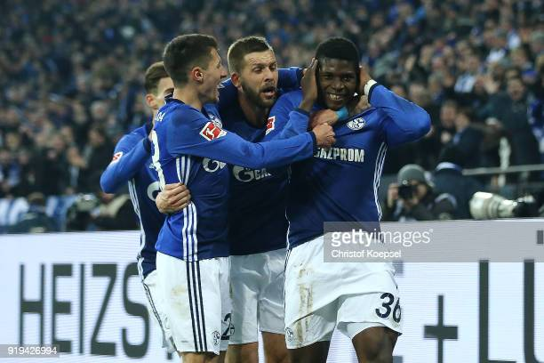Alessandro Schoepf of Schalke Guido Burgstaller of Schalke and Breel Embolo of Schalke celebrate Embolo's goal to make it 20 during the Bundesliga...