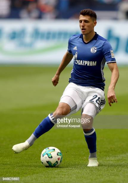Alessandro Schoepf of Schalke runs with the ball during the Bundesliga match between FC Schalke 04 and Borussia Dortmund at VeltinsArena on April 15...