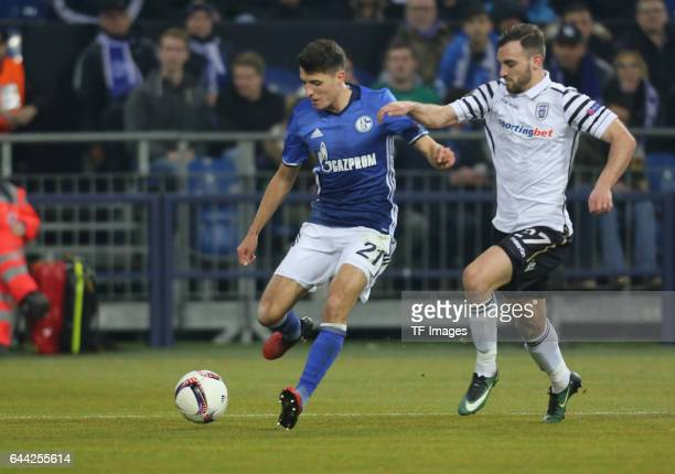 Alessandro Schoepf of Schalke Torschuss zum 10 and Giannis Mystakidis of PAOK battle for the ball during the UEFA Europa League Round of 32 second...