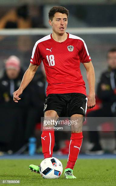 Alessandro Schopf of Austria passes the ball during the international friendly match between Austria and Albania at the Ernst Happel Stadium on March...
