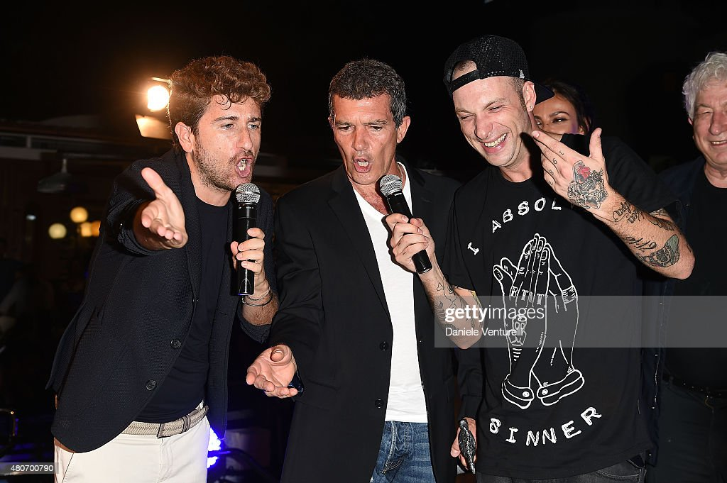 Alessandro Siani, Antonio Banderas and Clemente Maccaro attend 2015 Ischia Global Film & Music Fest Day 2 on July 14, 2015 in Ischia, Italy.