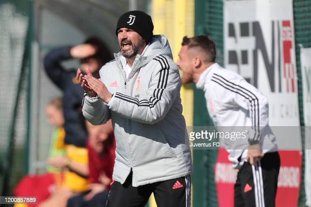 Alessandro Spugna manager of Juventus Women U19 gestures during the Viareggio Women's Cup match between Juventus U19 and FC Internazionale U19 on...