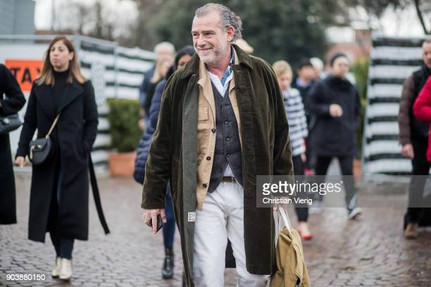 Alessandro Squarzi is seen during the 93 Pitti Immagine Uomo at Fortezza Da Basso on January 11 2018 in Florence Italy