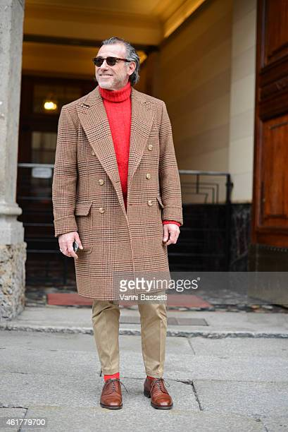 Alessandro Squarzi is seen on the streets of Milan during day 3 of Milan Menswear Fashion Week Fall/Winter 2015/2016 on January 19 2015 in Milan Italy