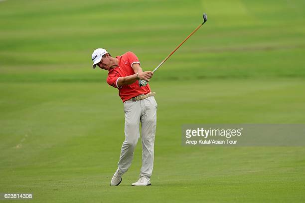 Alessandro Tadini of Italy plays a shot during round one of the BANK BRIJCB Indonesia Open at Pondok Indah Golf Course on November 17 2016 in Jakarta...