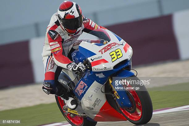 Alessandro Tonucci of Italy and Team Tasca Scuderia Moto2 heads down a straight during Moto2 And Moto 3 Tests at Losail Circuit on March 11 2016 in...