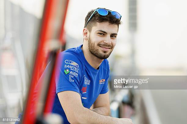 Alessandro Tonucci of Italy and Team Tasca Scuderia Moto2 smiles in pit during the Moto2 And Moto 3 Tests at Losail Circuit on March 12 2016 in Doha...