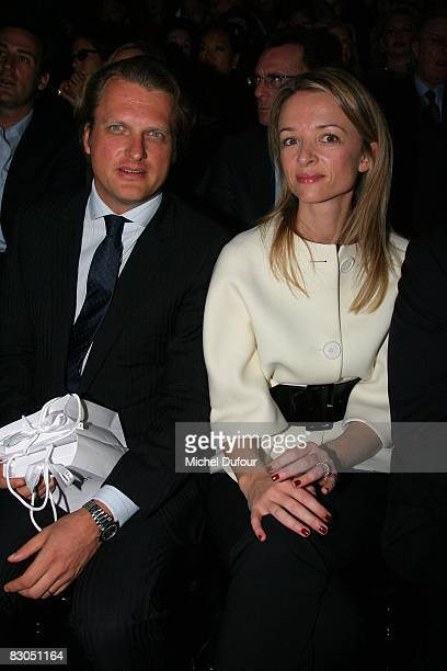Alessandro Vallarino Gancia and Delphine Arnault attends the Christian Dior PFW Spring/Summer 2008 show on September 29 2008 in Paris France