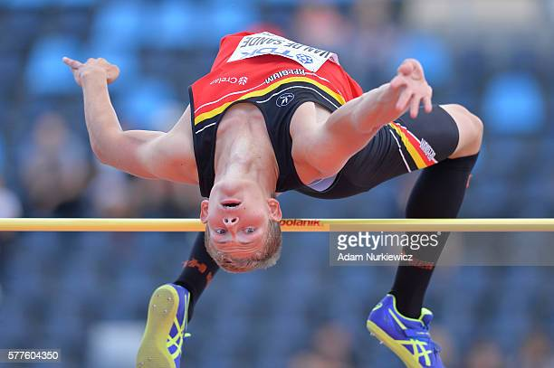 Alessandro Van De Sande from Belgium competes in the men's high jump decathlon during the IAAF World U20 Championships Day 1 at Zawisza Stadium on...