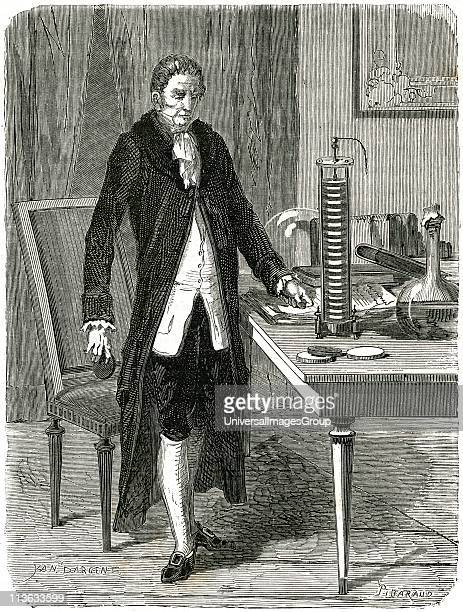 Alessandro Volta Italian physicist demonstrating his electric pile Wood engraving Paris c1870