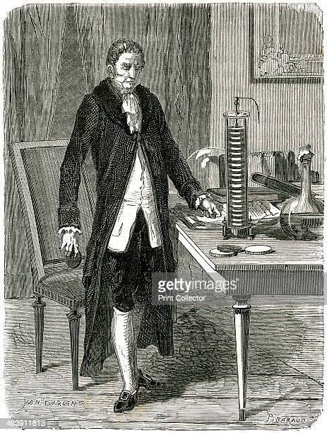 Alessandro Volta Italian physicist demonstrating his electric pile c1800 Volta's voltaic pile an early form of battery was the first source of...