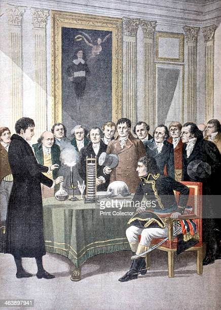 Alessandro Volta Italian physicist demonstrating his pile to Napoleon From Le Petit Journal Paris 1901