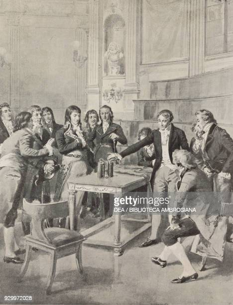 Alessandro Volta presenting his battery to Napoleone Bonaporte first consul drawing by Edoardo Matania The great inventions of the 19th century from...