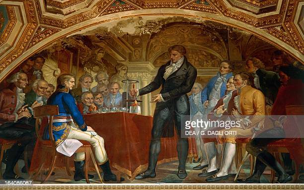 Alessandro Volta presenting the experiment of the battery to Napoleon and members of the Institut de France Fresco by Gaspero Martellini from a...