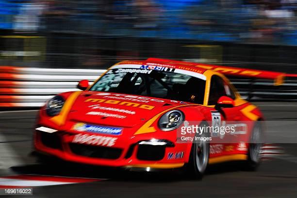 Alessandro Zampedri drives the MomoMegatron Porsche during the Porsche Supercup race prior to the Monaco Formula One Grand Prix at the Circuit de...
