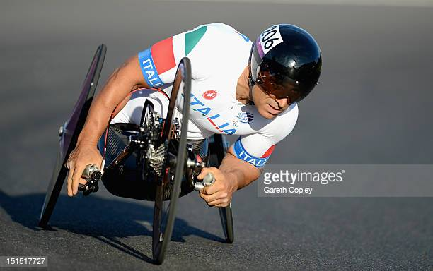 Alessandro Zanardi of Italy competes in the Mixed H 14 relay on day 10 of the London 2012 Paralympic Games at Brands Hatch on September 8 2012 in...