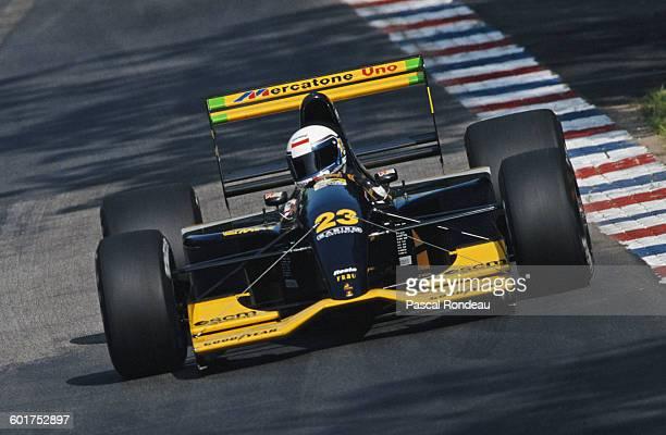 Alessandro Zanardi of Italy drives the Minardi Team Minardi M192 Lamborghini V12 during the German Grand Prix on 26 July 1992 at the Hockenheimring...