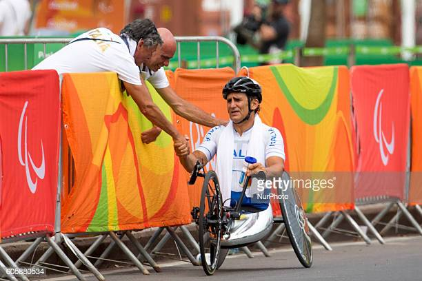 Alessandro Zanardi of Italy reacts after competing in the Men's Road Race H5 on day 8 of the Rio 2016 Paralympic Games at the Olympic Aquatics...