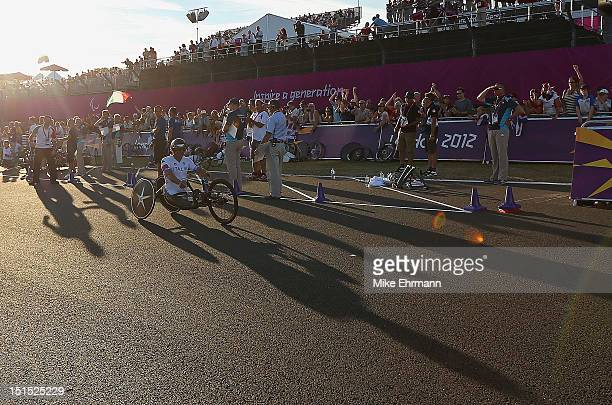 Alessandro Zanardi of Italyraces in the Mixed H 14 Cycling Team Relay on day 10 of the London 2012 Paralympic Games at Brands Hatch on September 8...