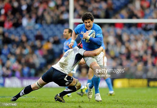 Alessandro Zanni of Italy during the RBS Six Nations match between Scotland and Italy at Murrayfield on March 19 2011 in Edinburgh Scotland