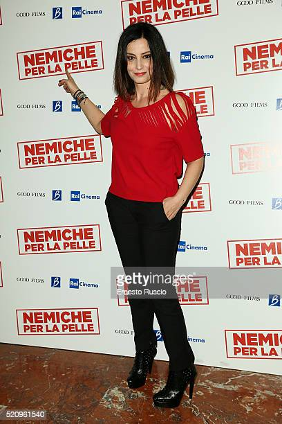 Alessia Barela attends the Nemiche Per La Pelle premiere at Cinema Barberini on April 13 2016 in Rome Italy