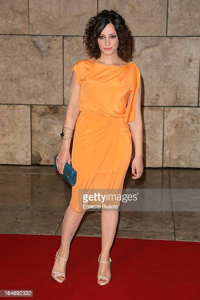 Alessia Barela attends the Viaggio Sola premiere at Ara Pacis on March 26 2013 in Rome Italy