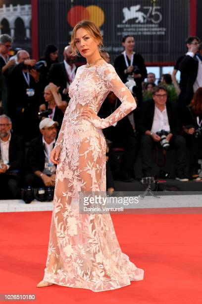 Alessia Bossi walks the red carpet ahead of the 'At Eternity's Gate' screening during the 75th Venice Film Festival at Sala Grande on September 3...