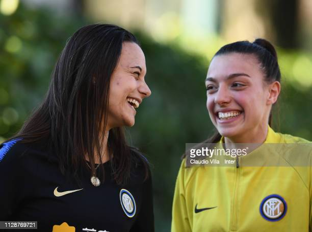 Alessia Capelletti and Silvia Pisano of FC Internazionale Women chat during a training session at Suning Youth Development Centre in memory of...