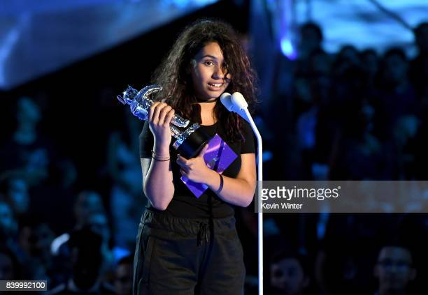 Alessia Cara accepts the Best Dance award for 'Stay' onstage during the 2017 MTV Video Music Awards at The Forum on August 27 2017 in Inglewood...