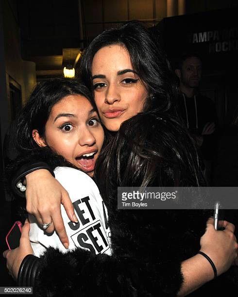 Alessia Cara and Camila Cabello pose backstage during 93.3 FLZ's Jingle Ball 2015 Presented by Capital One at Amalie Arena on December 19, 2015 in...