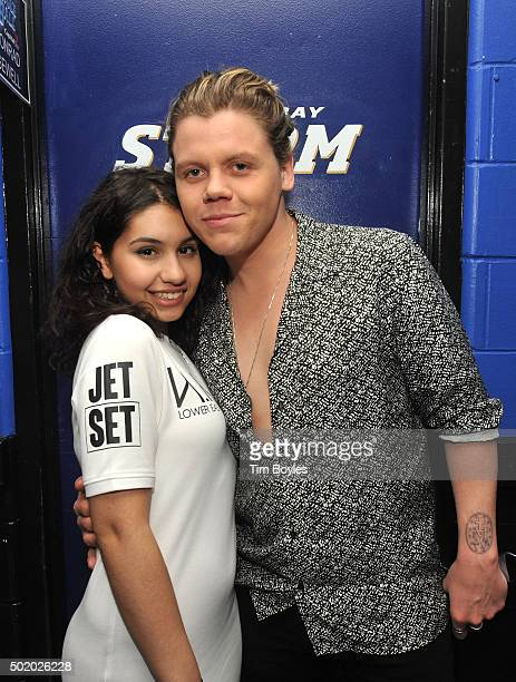 Alessia Cara and Conrad Sewell pose backstage during 933 FLZ's Jingle Ball 2015 Presented by Capital One at Amalie Arena on December 19 2015 in Tampa...