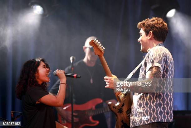 Alessia Cara and John Mayer perform for Bud Light's Dive Bar Tour at the Echoplex In Los Angeles on July 26 2017 in Los Angeles California