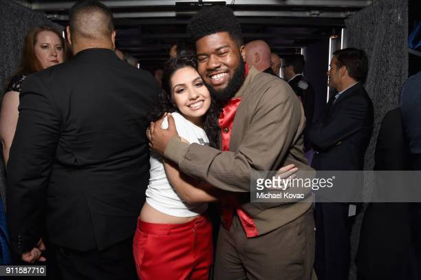 Alessia Cara and Khalid appear backstage during the 60th Annual GRAMMY Awards at Madison Square Garden on January 28 2018 in New York City