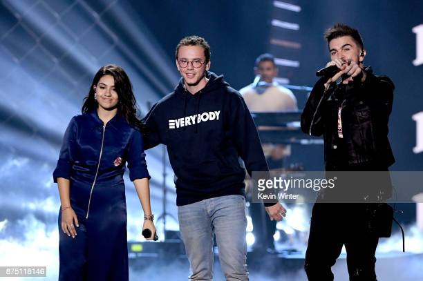 Alessia Cara Logic and Juanes perform onstage at the 18th Annual Latin Grammy Awards at MGM Grand Garden Arena on November 16 2017 in Las Vegas Nevada