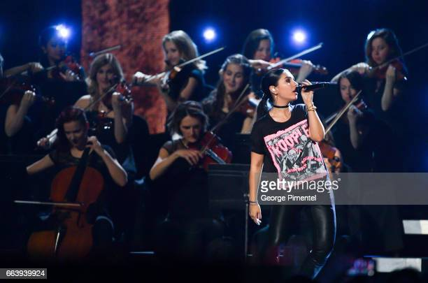 Alessia Cara performs at 2017 Juno Awards at Canadian Tire Centre on April 2 2017 in Ottawa Canada