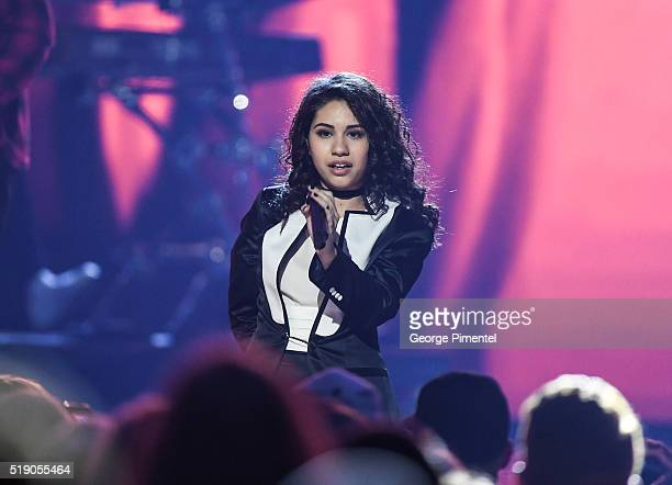 Alessia Cara performs at the 2016 Juno Awards at Scotiabank Saddledome on April 3 2016 in Calgary Canada