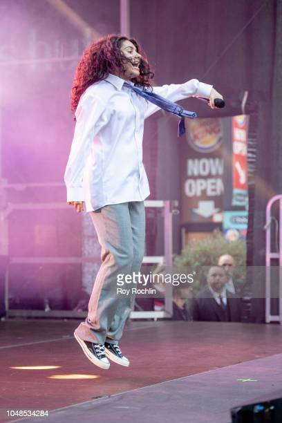 Alessia Cara performs during iHeartRadio's Z100 Jingle Ball 2018 Kick Off at Macy's Herald Square on October 9 2018 in New York City