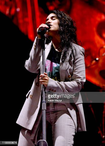 """Alessia Cara performs during the kick off of the North American leg of """"Shawn Mendes: The Tour"""" at Moda Center on June 12, 2019 in Portland, Oregon."""