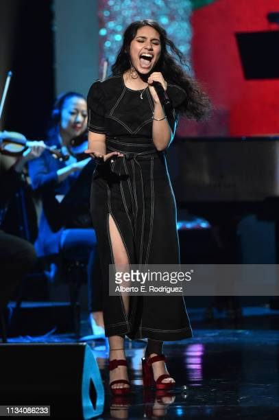 Alessia Cara performs onstage at AllStar Lineup Pays Tribute At 'Aretha A GRAMMYCelebration For The Queen Of Soul at The Shrine Auditorium on...