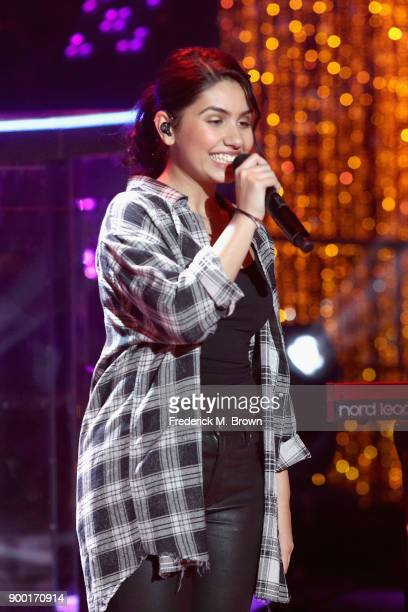 Alessia Cara performs onstage during Dick Clark's New Year's Rockin' Eve with Ryan Seacrest 2018 on December 31 2017 in Los Angeles California