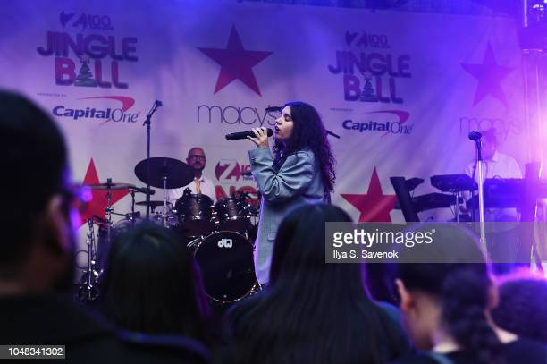 Alessia Cara performs onstage during iHeartRadio's Z100 Jingle Ball Official KickOff Event At Macy's Herald Square on October 9 2018 in New York City