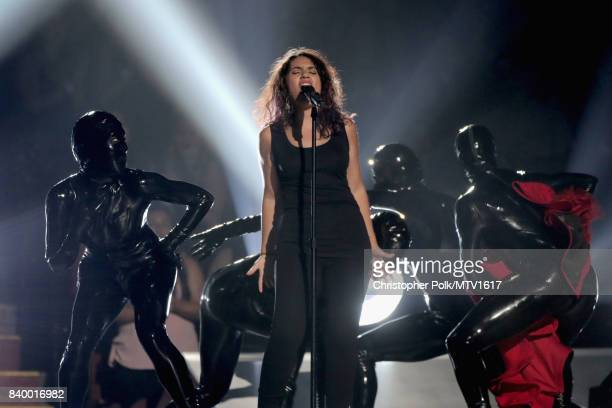 Alessia Cara performs onstage during the 2017 MTV Video Music Awards at The Forum on August 27 2017 in Inglewood California