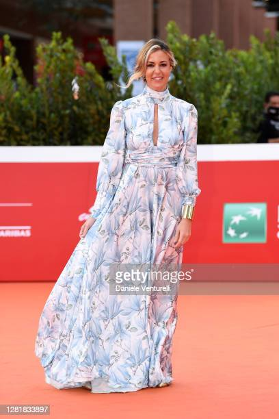 """Alessia Fabiani attends the red carpet of the movie """"Borat"""" during the 15th Rome Film Festival on October 23, 2020 in Rome, Italy."""